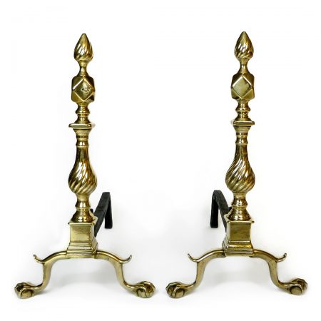 Exceptional Pair of American (New York) Diamond & Flame Brass Andirons. Circa 1765
