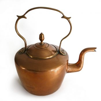 English Copper Kettle signed EVW for E. V. Wilkes. Circa 1850