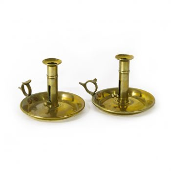 Pair of English Brass Side Ejector Chambersticks. Circa 1850