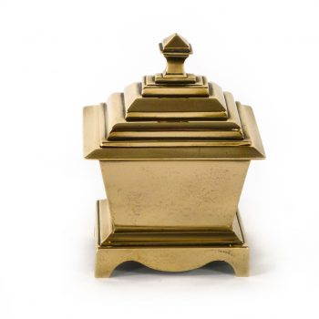 Cast English Brass/Bell Metal Casket Tobacco Box. Circa 1875