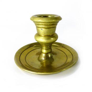 Single Cast Brass Candlestick. Campana Shaped Socket. Circa 1800