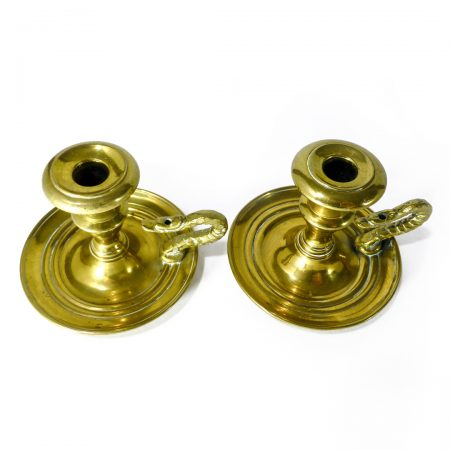 Very Rare Pair of American Brass Chambersticks. Circa 1860