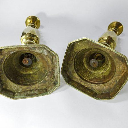 """Pair of English Brass """"The Diamond Prince"""" Candlesticks. Circa 1880"""
