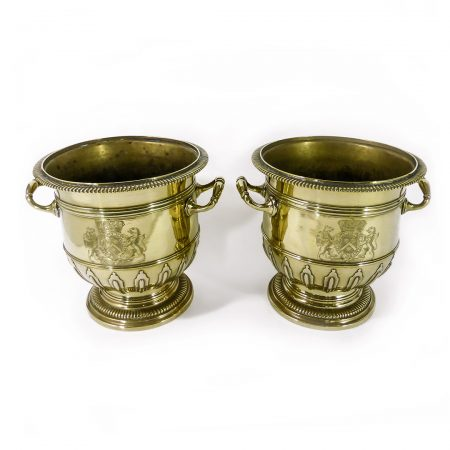 Highly Important Pair of Brass Silver Form Huguenot Wine Buckets. Circa 1710