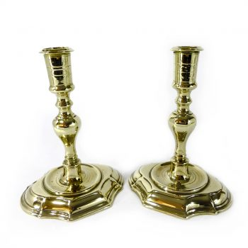 Pair of Danish Brass Candlesticks. Circa 1700