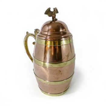 Fine Large American Copper & Brass Tankard With Eagle Finial. Circa 1880
