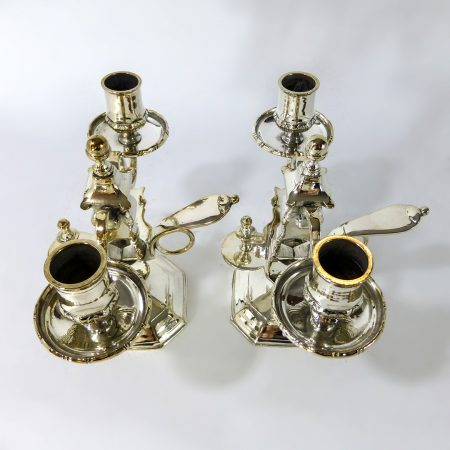 Pair of French Silvered Brass 2 Arm Bouillotte Candlesticks. Circa 1850