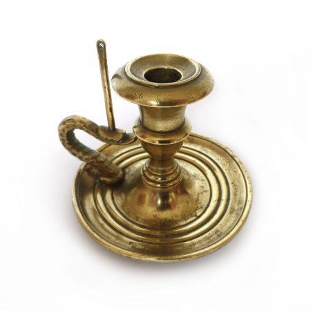 "Very Rare American Single Brass Signed ""Cornelius and Baker, Philadelphia"" Taperstick. Circa 1850."