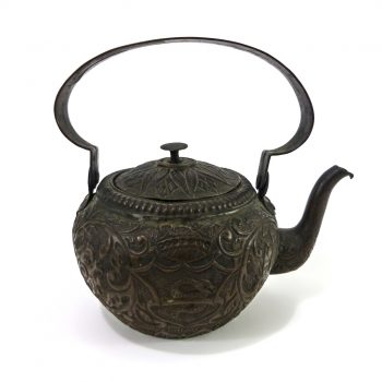 Fabulous Dutch Copper Kettle with Repoussé Decoration, Circa 1750
