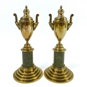 Pair of Swedish Grace Brass and Kolmards Marble Urn Candlesticks, Circa 1900