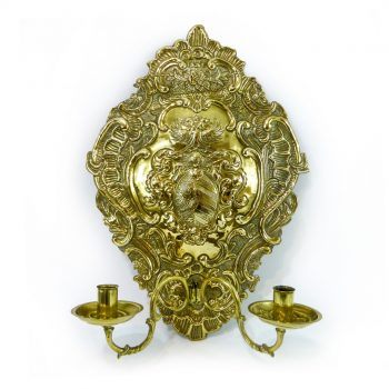 Dutch Brass wall sconce with 2 arms, Circa 1780