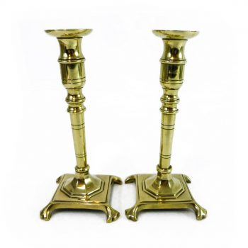 Pair of Spanish/Russian 4 Legged Brass Candlesticks. Circa 1880