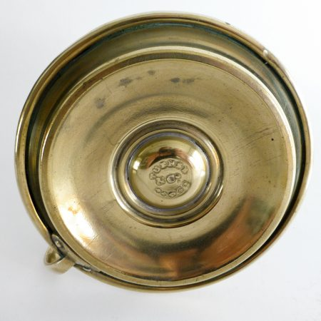 English Brass Sheet Metal Chamberstick with push-up signed Turner & Co. Circa 1860