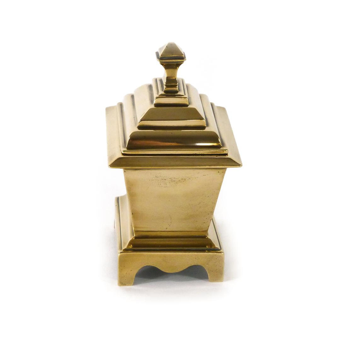 Cast English Brass/Bell Metal Casket Tobacco Box. Circa 1875