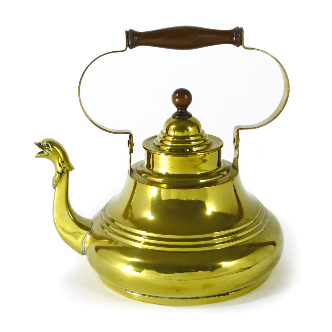 Dutch Brass Serpent Spout Kettle. Swing Handle. Circa 1725.