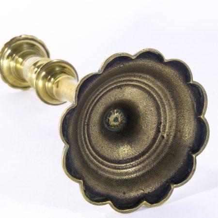 Single English Queen Anne Brass Petal Base Candlestick. Circa 1770