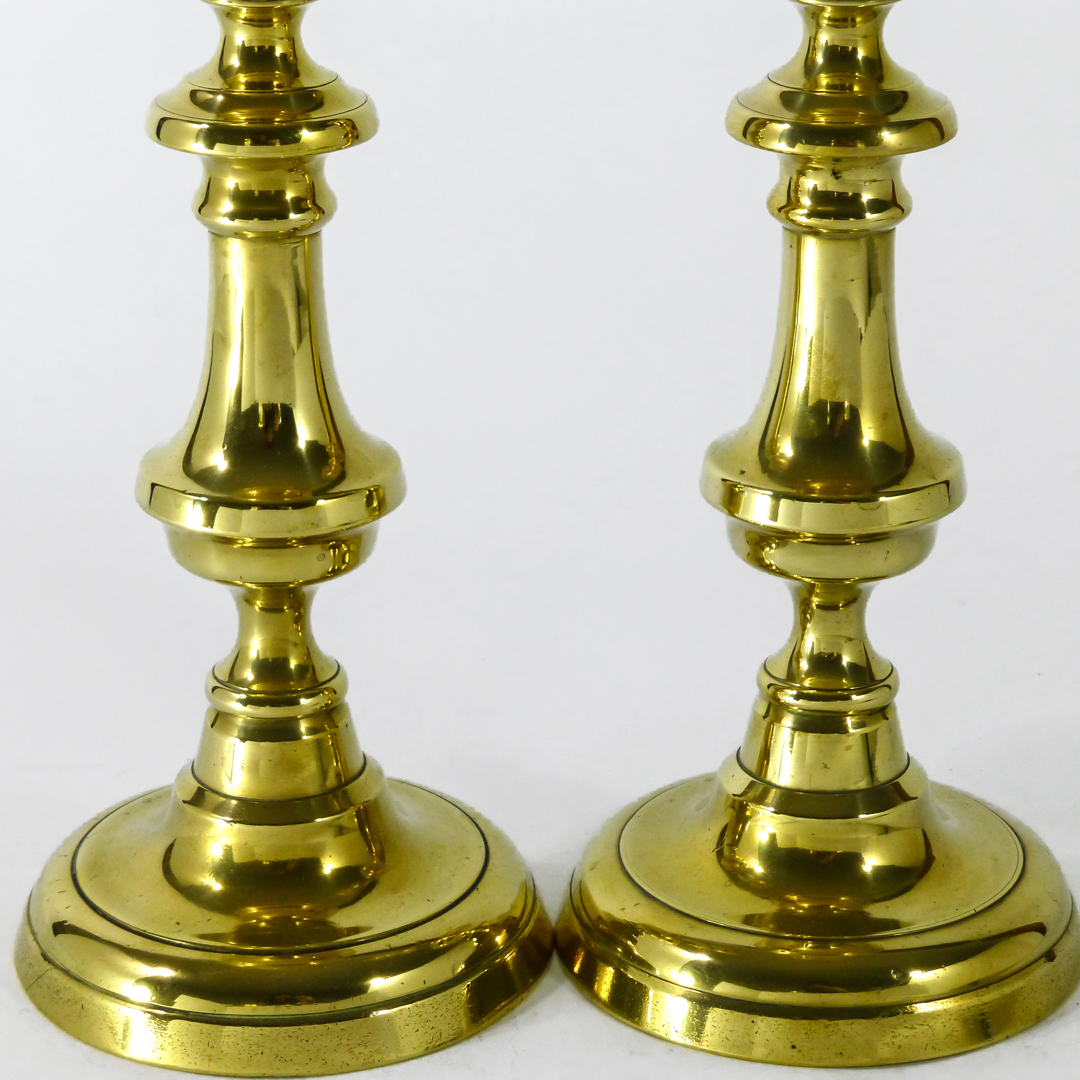 Pair of English Brass Dome Base Candlesticks with Push Ups. Circa 1840