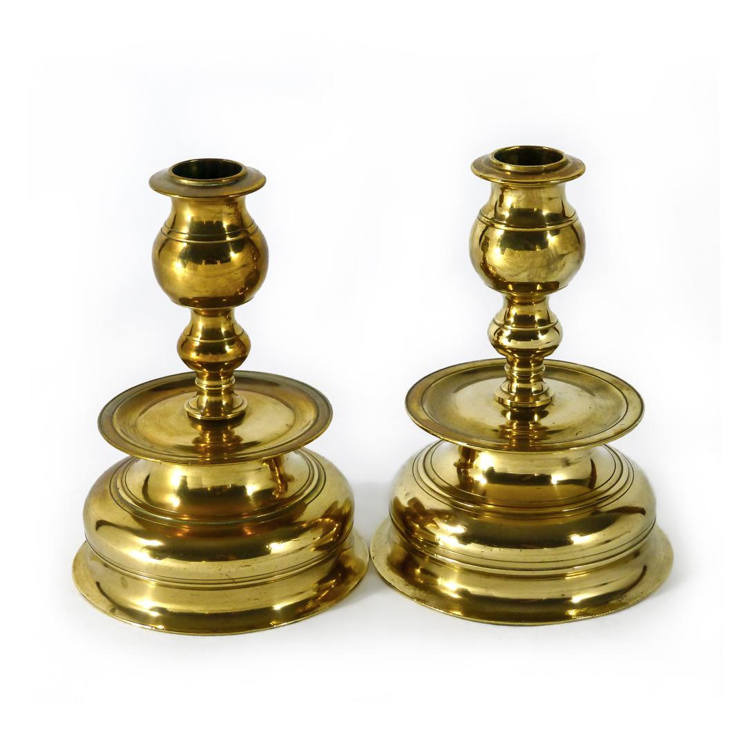 Pair fo Swedish Bell Metal Candlesticks. Circa 1875