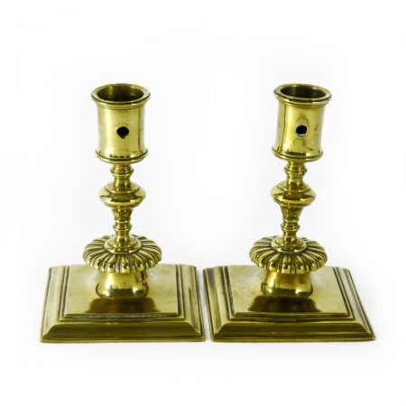 Pair of Late 17th Century French Brass Candlesticks. Circa 1690