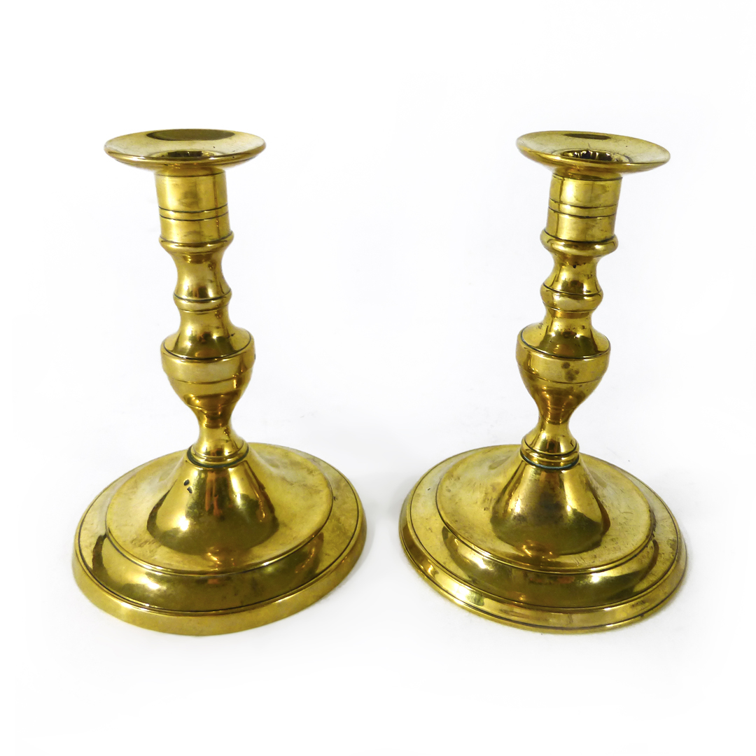 Rare Pair of Portuguese Brass Tapersticks. Circa 1800