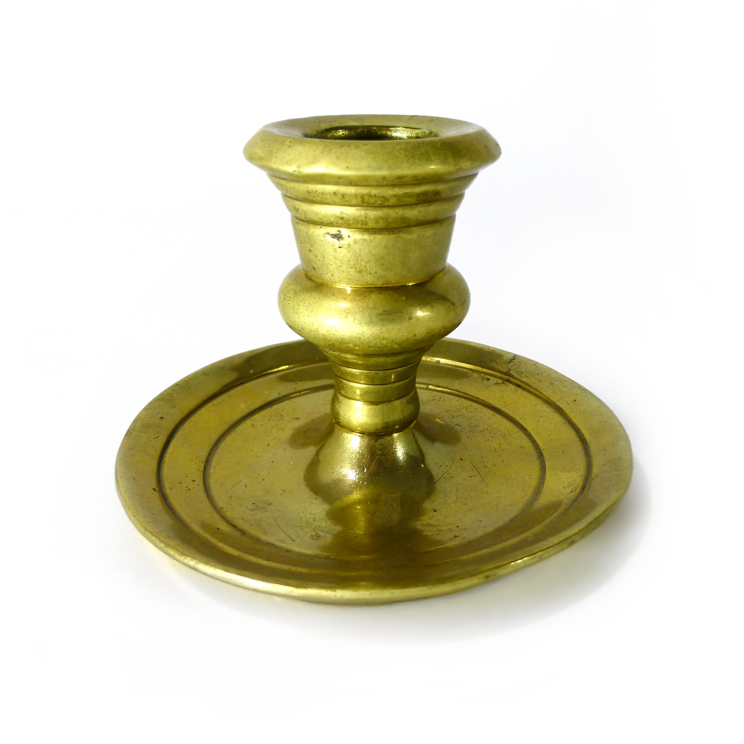Single Cast Brass Candlestick. Campana Shaped Socket. Circa 1800