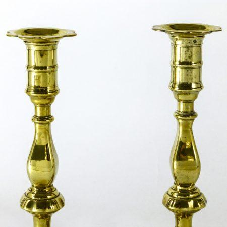 Unusual Pair of English Brass Queen Anne Candlesticks. Circa 1765
