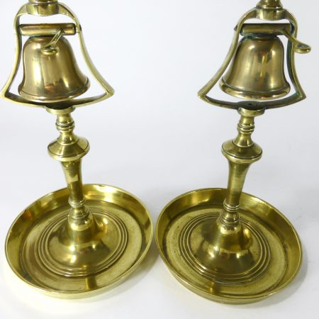 Pair of English Tavern Candlesticks with Bells. Circa 1820