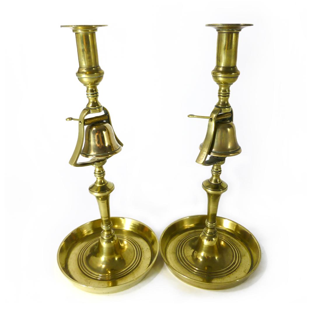 Pair of English Tavern Candlesticks with Bells. Circa 1820