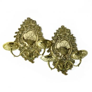Fine Pair of Dutch Brass Two Armed Scones