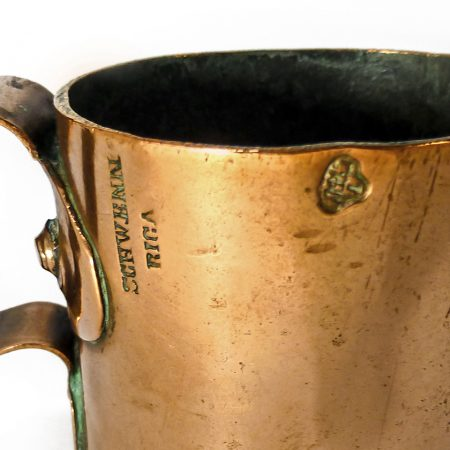 "Russian Copper Vodka/Spirits Measure. Signed ""Schwenn, Riga"". Dated 1897"