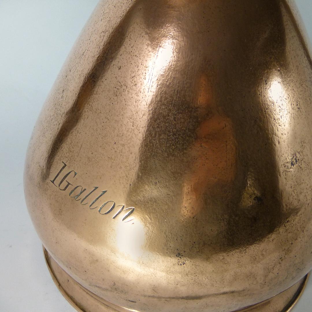 English One Gallon Copper Pistol Grip Measure. Lead Seal Dated 1826