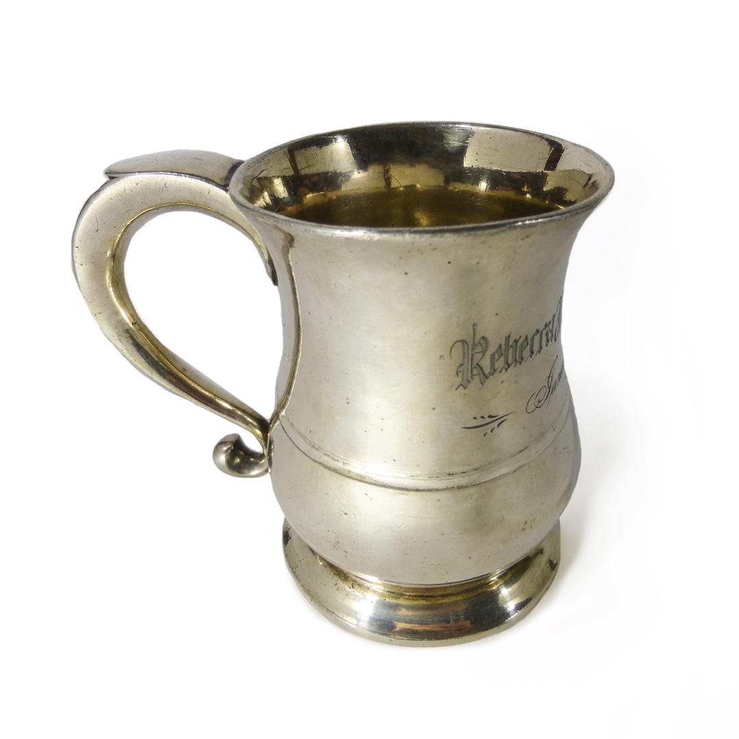 Rare Silvered Pint Capacity American Pewter Mug. Engraved, 1791