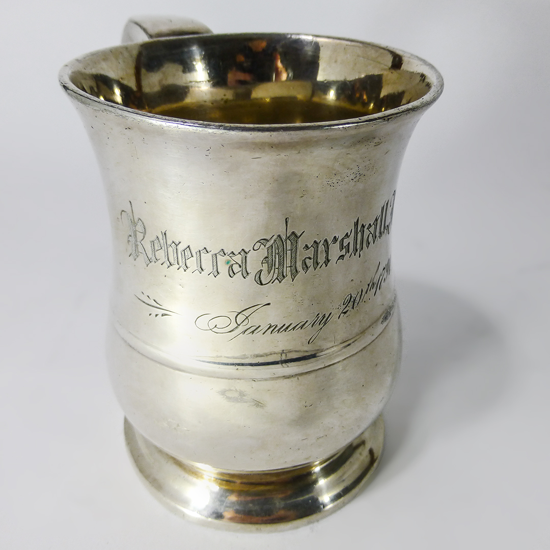 Rare Silvered Pint Capacity American Pewter Mug. Engraved, 1791