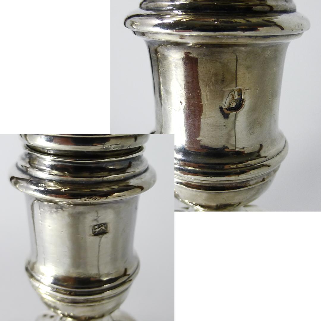 Pair of English Silver Candlesticks. London. 1738