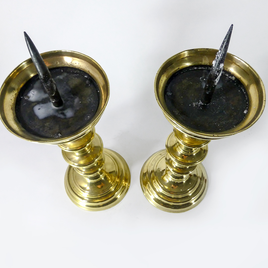 A Pair of Gothic Nuremberg Brass Pricket Candlesticks. Circa 1500