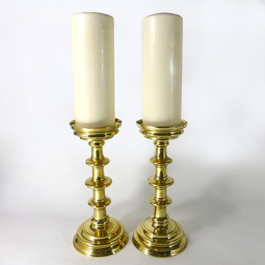 A Pair of Gothic Nuremberg Brass Pricket Candlesticks. Circa 1500