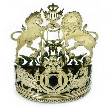 Very Rare Pierced Brass Wall Pocket with Scottish Coat of Arms. Circa 1880