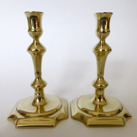 Pair of English Brass Queen Anne Candlesticks