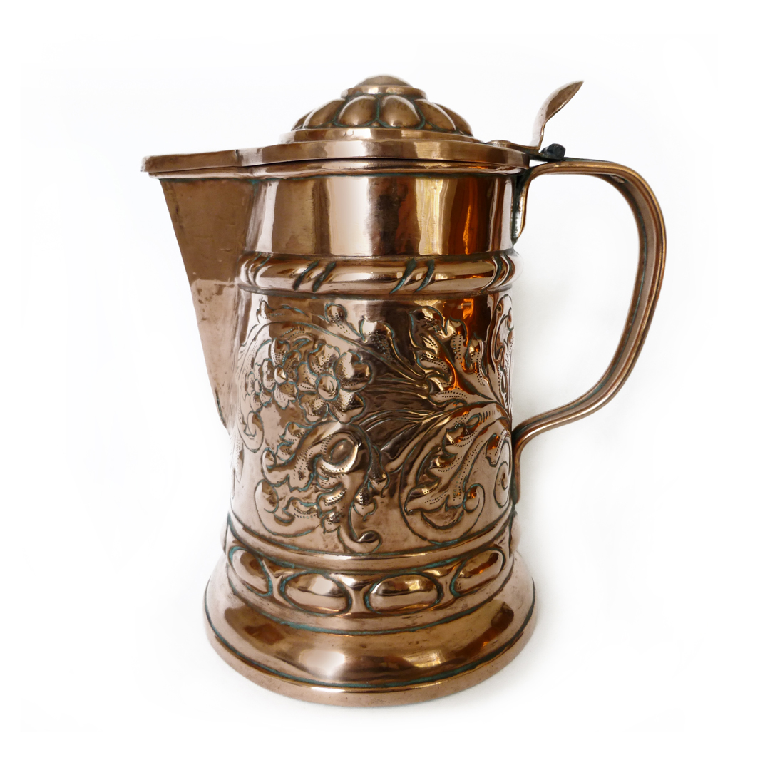 Great German Copper Wine Flagon. Circa 1700's