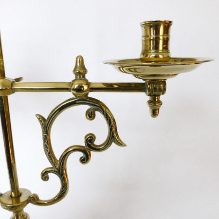 Very Rare French Brass Adjustable Library Candlesticks with Zeus, Circa 1875