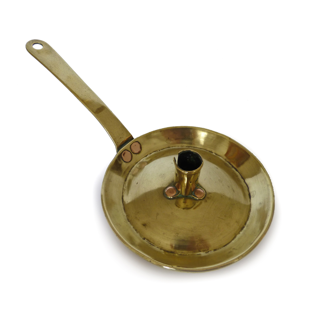 Dutch Brass Fry Pan Chamberstick. Circa 1750