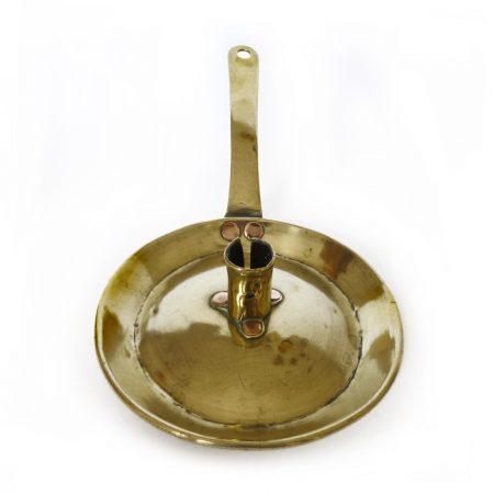 Dutch Brass Fry Pan Chamberstick. Circa 1750