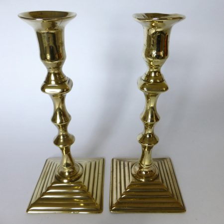 Pair of English Brass Queen Anne Square Base Candlesticks. Circa 1740