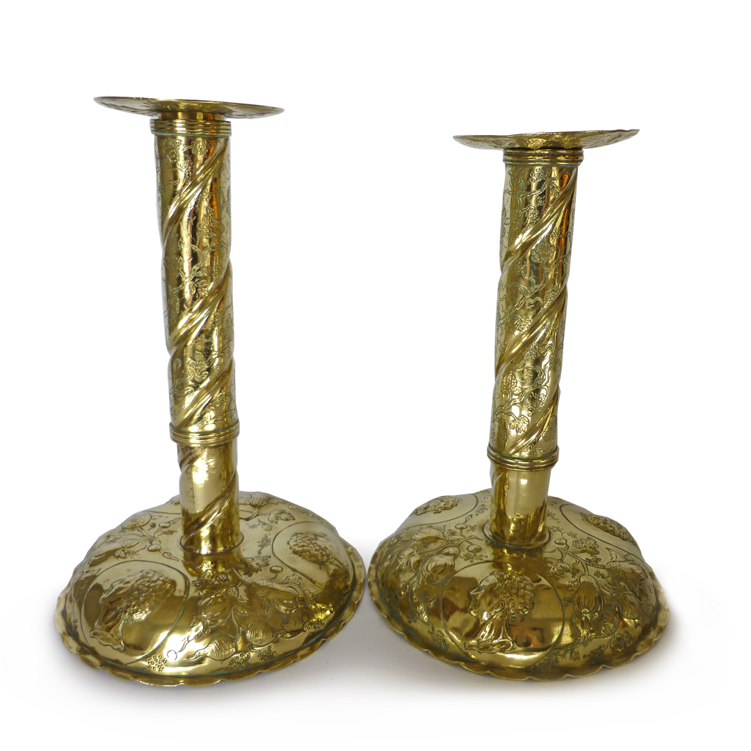 Pair of Swedish Sheet Metal Brass Candlesticks Each with 3 Busts on Base. Circa 1800