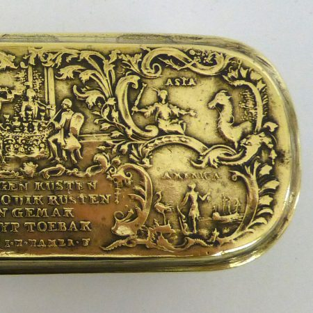 German Brass and Copper Tobacco Box. Dated 1762