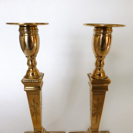 Pair of extremely rare finely detailed engraved English gunmetal candlesticks. Circa 1785