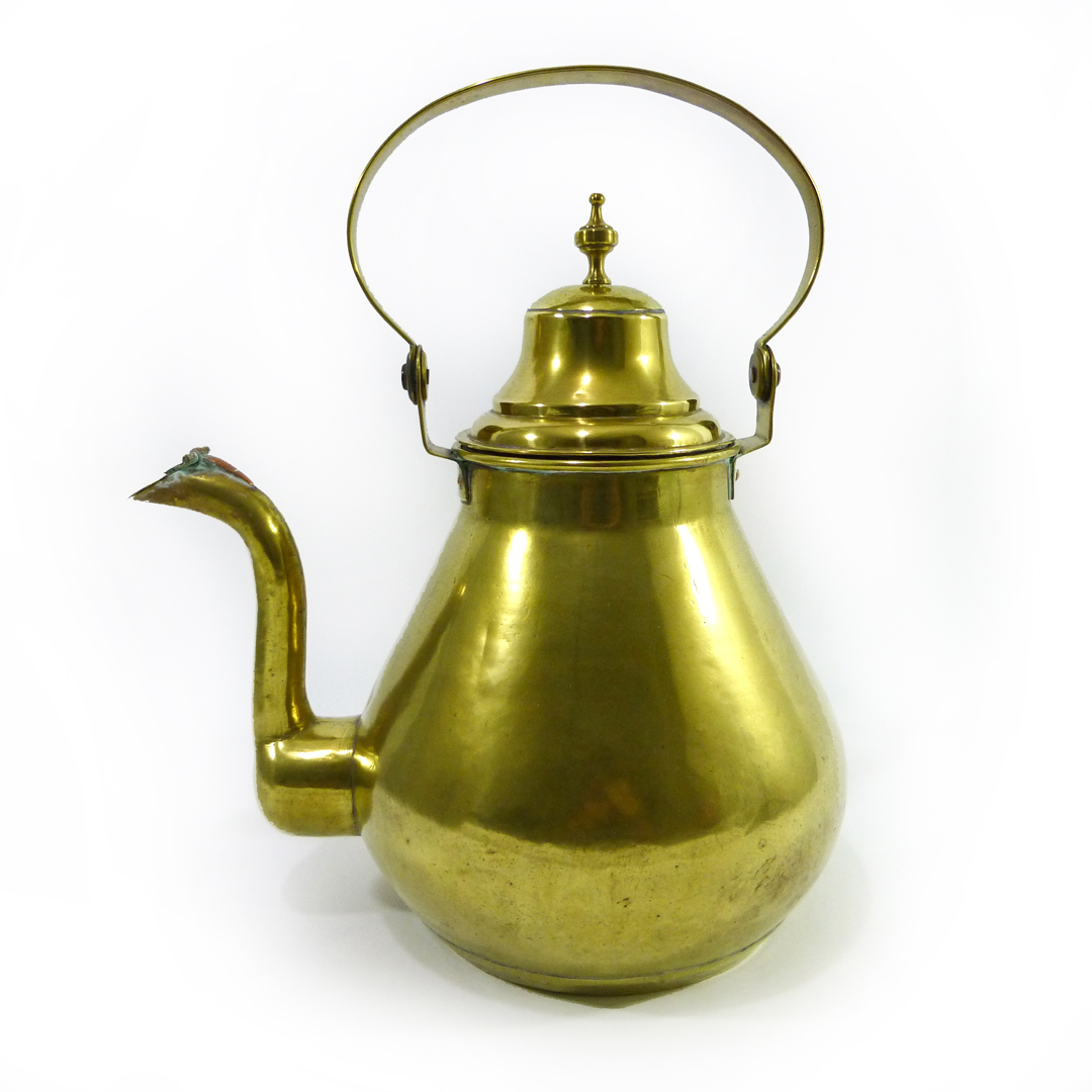 Very Large Flemish/Dutch Brass Pear Shaped Brass Kettle, Circa 1875