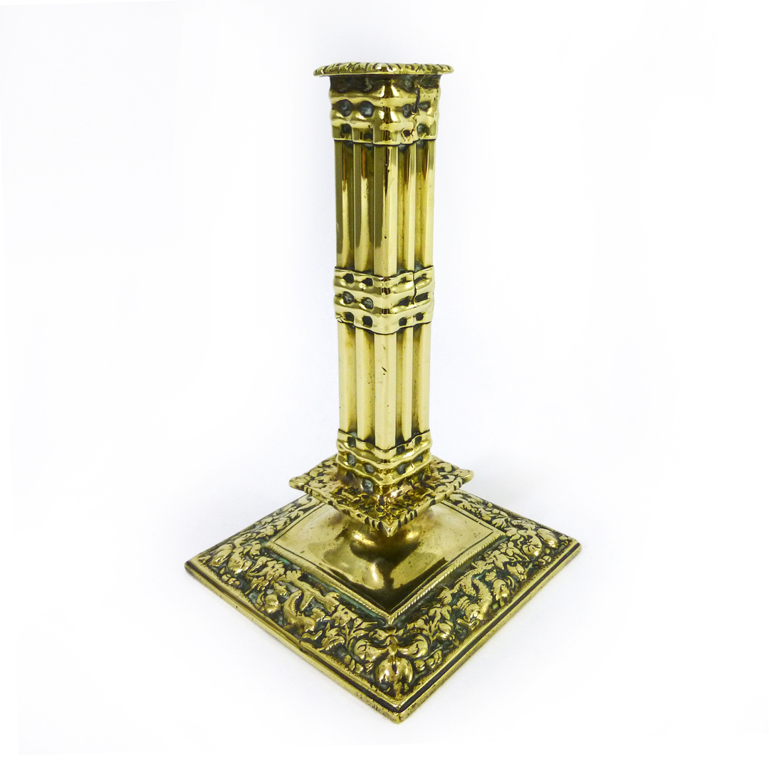 17th Century Huguenot English/French Silver Form Brass Cluster Column Candlestick
