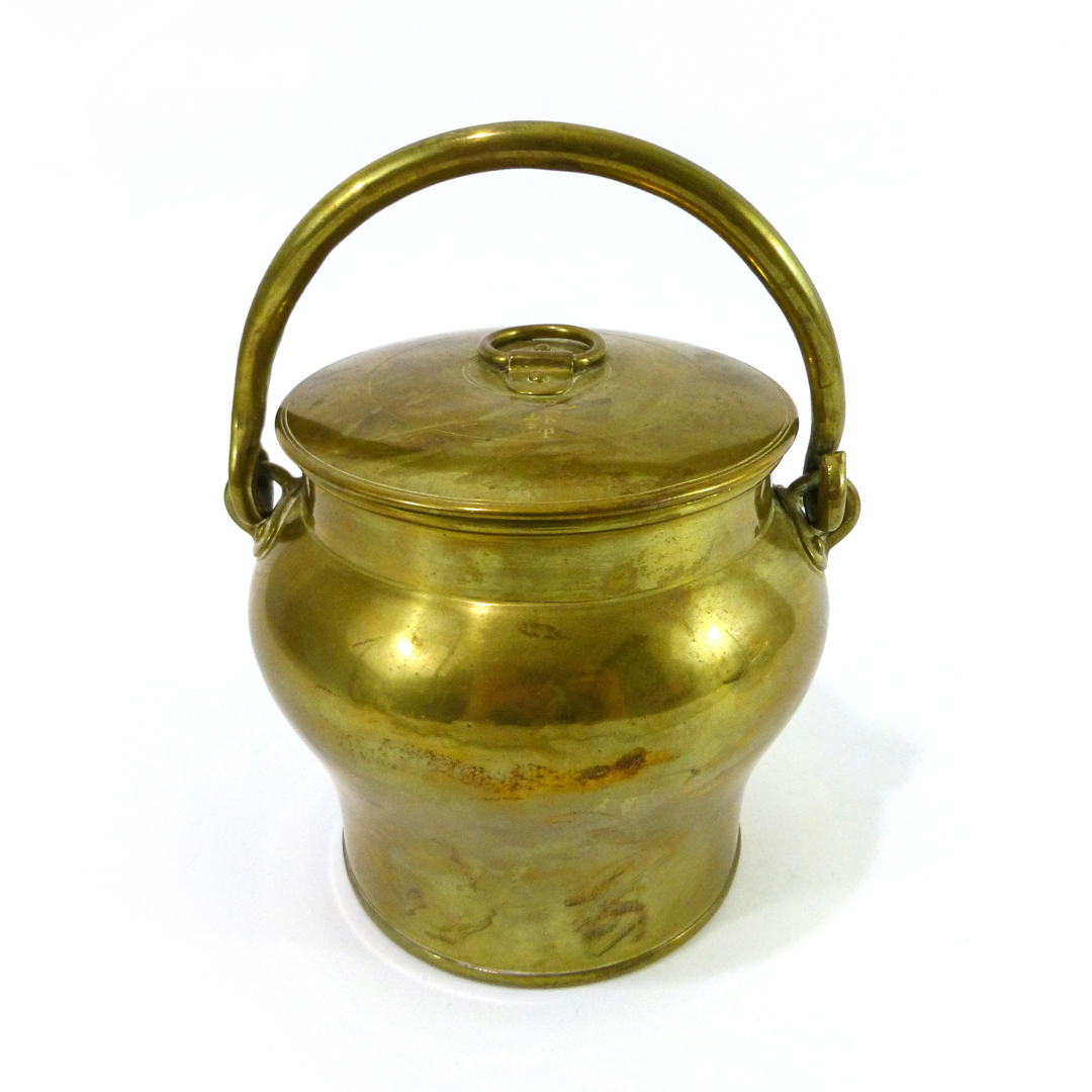 Swedish Brass Bucket and Lid, Signed Sultana 1/2 K, Circa 1890