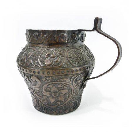 Fabulous Dutch Copper Jug with Repoussé Decoration, Circa 1750